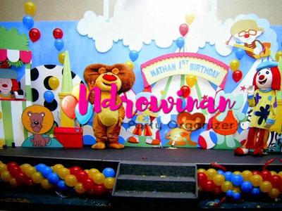 dekorasi backdrop styrofoam ulang tahun anak