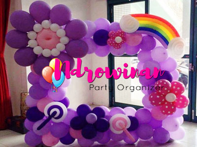 dekorasi balon bunga pelangi