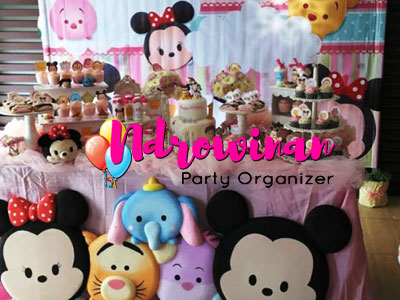`dessert table ulang tahun anak tema mickey