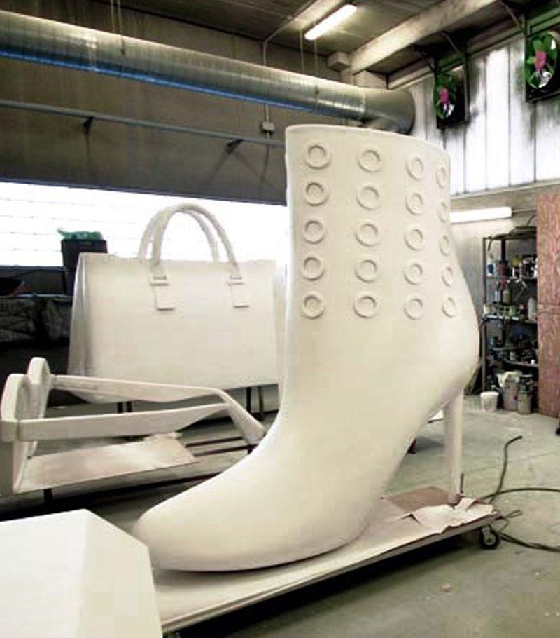 replika sepatu dan tas gabus busa styrofoam