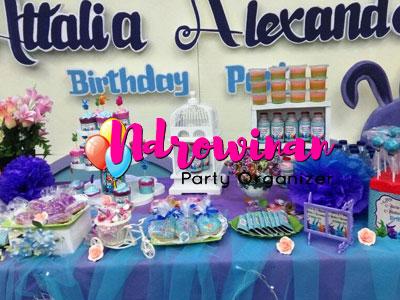 sweet corner dessert table ulang tahun anak